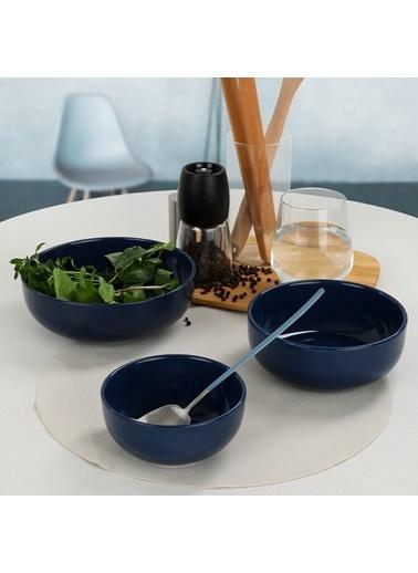 Keramika İndigo Mavi Nordic/Kera/Bulut Salata/Çerez Seti 3 Parça Renkli